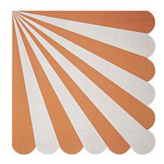 Meri Meri Party Supplies | Toot Sweet Orange Stripe Large Napkins | Polka Dot Design