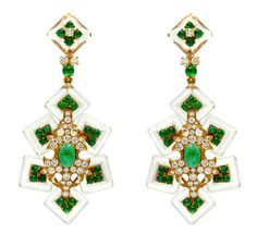 Cartier, Pair of Emerald, Rock Crystal, Diamond and Gold Ear  Pendants. Pretty and Unusual.