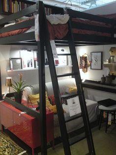30 Pretty Loft Bedroom Design Ideas For Teen Small Room Bedroom, Bedroom Loft, Small Rooms, Girls Bedroom, Small Spaces, Loft Bed Ikea, Forest Bedroom, Comfy Bedroom, Girl Rooms