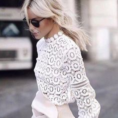 The Most Popular Genious Street Style Ideas To Try Right Now Net & Lace tops fashion outfit ideas The Best of summer fashion in Looks Street Style, Looks Style, Mode Outfits, Fashion Outfits, Fashion Blouses, Office Outfits, Dress Fashion, Fashion Shirts, Woman Outfits