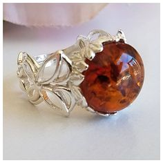 Amber Ring, Amber Jewelry, Silver Jewelry, Amber Gemstone, Baltic Amber, Statement Rings, Sterling Silver Rings, Cuff Bracelets, Gemstones