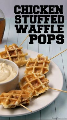 Waffle Recipes, Brunch Recipes, Appetizer Recipes, Waffle Pops, Finger Food Appetizers, Football Food, Creative Food, No Cook Meals, Chicken Recipes