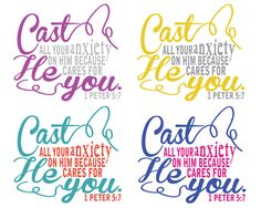 Free Printable {Memory Verse Mania}: I Peter 5:7, four color options available!