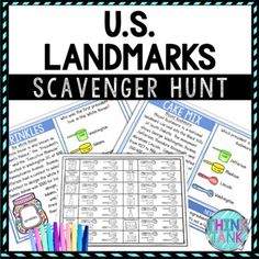 U.S. Landmarks Activity - Scavenger Hunt Challenge - Gallery Walk by Think Tank Earth Science Activities, History Activities, Party Activities, Holiday Activities, Geography Activities, Classroom Activities, Memorial Day Activities, Middle School History, Upper Elementary Resources