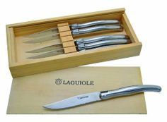Laguiole Serrated Blade Steak Knives w/ wooden gift box (Set of 6) by Baladeo. $55.52. 6 fearsome blades delivered in a beautiful wooden gift box. For those who want a refined and efficient Laguiole knife which is as easy to maintain as a stainless steel knife. Laguiole knives by Baladéo are made by hand using only the finest materials and respecting the traditions of years passed. We guarantee our products to be of the highest quality: our 440 steel, raw materials (various sp...