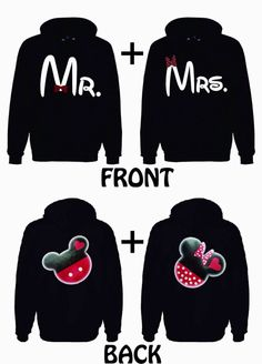 Disney Hoodies Mickey and Minnie on the back, Mr. and Mrs. on the front. 69.99 FOR TWO on Etsy, $64.99