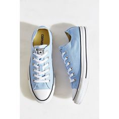 Converse Chuck Taylor All Star Seasonal Low Top Sneaker ($55) ❤ liked on Polyvore featuring shoes, sneakers, converse, sky, star sneakers, converse trainers, converse shoes, polish shoes and flat shoes