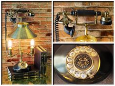Repurposed Steampunk Vintage Inspired Telephone Black and Brass Upcycled Retro Table Desk Lamp by Loftyideas4u with Amber Edison Light Bulbs by Loftyideas4u on Etsy