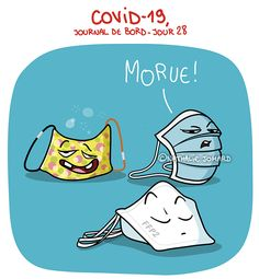 COVID19 - Journal de bord illustré, jour 28, by ©Nathalie Jomard #nathaliejomard #covid19 #coronavirus #illustration #humour #humor #confinement #quarantaine #quarantine #woman #femme #balcon #comics #bd #dessin #drawing #funny #drôle #covid_19 #covid #illustrator #lockdown #masque #mask #ffp2 #masquetissu Emoji, Snoopy, Lol, Fictional Characters, May, Crowns, Jokes, Drawings, Funny Cartoons