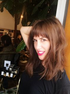 bangs, fringe, mink colored hair, red lips, lob, fashion, beauty, chocolate brown