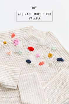 diy Abstract Embroidered Sweater #DIY #sweaters #embroidery #holidays