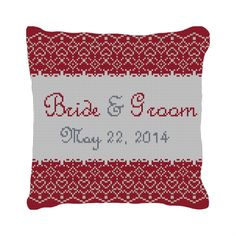 Red Lace Personalized Ring Bearer Pillow | NeedlePaint