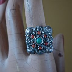 Antique Ottoman Empire Sterling Silver Ring with by prettyinprague