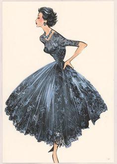 Artworks by Grant Cowan, VIntage fashion illustration Vintage Fashion Sketches, Fashion Illustration Sketches, Illustration Mode, Fashion Drawings, Art Illustrations, Vogue Fashion, 1950s Fashion, Look Fashion, Fashion Art