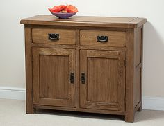 Rustic Solid Oak Small Sideboard