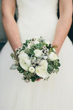White and gray brides bouquet with silver brunia and succulents tucked in #MarieeAmi #Wedding