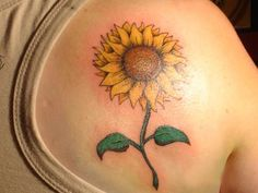 Sunflower with Leaves Tattoo for Back Shoulder
