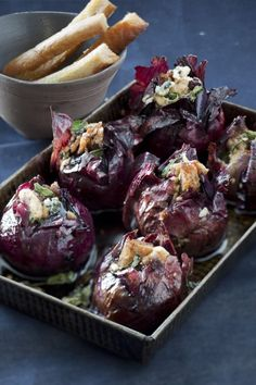 Roasted red onions in balsamic reduction & gorgonzola.   Holy. Cow.