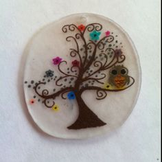 Colored owl in tree shrinky dink charm