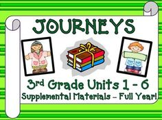 "Journeys 3rd Grade - This bundle contains a variety of activities for each lesson in Units 1 through 6 from the third grade Journeys book 3.1 and 3.2 and the softcopy (magazine) book, ""Make Your Mark"", Journeys Unit 6. $"