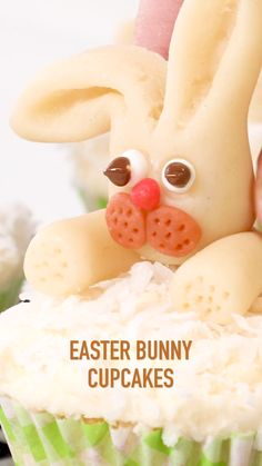 Chef Eddy's Easter Bunny Cupcakes are fluffy vanilla cupcakes topped with butter cream icing, coconut and marzipan bunnies. Kids and adults alike will want to p Easter Snacks, Easter Brunch, Easter Treats, Easter Recipes, Holiday Recipes, Easter Desserts, Fun Baking Recipes, Cupcake Recipes, Cupcake Cakes