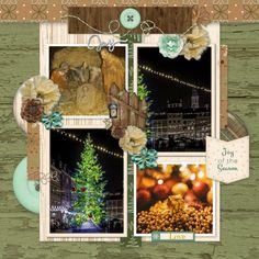 NEW RELEASE Joy of the Season by Dandelion Dust Designs. Grab this gorgeous kit, perfect for your autumn layouts, on sale for a limited time, don't miss out! Layout created using Joy of the Season and CEAF temp freebie by Tinci Designs Brown Wood Texture, Gold Texture, Green Dot, Green And Gold, Line Photo, Twig Wreath, Pine Branch, Photo Corners