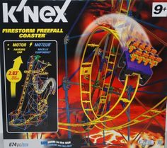 Firestorm Freefall Coaster 2.83' for ages 9+ requires 2 AA batteries not included. #toys #games #KNex #Coaster