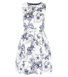 Closet – Weißes Kleid mit Spitzeneinsatz und Blumenmuster