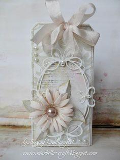 tag vintage style flower tiffany frame die leaves Gallery of handicrafts: Pastelowa kartka