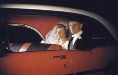 Vintage color transparency 1950s wedding car via glasskeyphoto tumblr