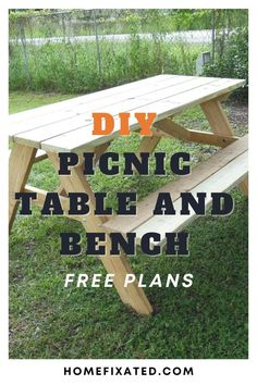 A great DIY project anyone can do. Easy diy picnic table and bench. Enjoy the outdoors with this great do it yourself picnic table and bench. #homefixated Outdoor Ideas, Outdoor Spaces, Outdoor Living, Garden Furniture, Diy Furniture, Picnic Table Bench, Project Ideas, Diy Projects, Diy Ideas