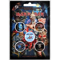 Iron Maiden: Later Albums (set insigne - 5 buc.) Albums Iron Maiden, Button Badge, Latest Albums, Metal Pins, Metalhead, Rock, Hang Tags, Pin Badges, Heavy Metal