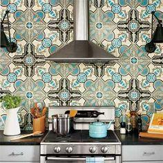 Tile - a little busy, but love the colors.  Maybe in a small space, like an insert in the center of an island or just a backsplash behind the range?