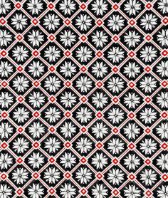 Moda Snowflake Lattice Button Black Fabric