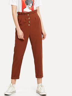 Pantalon découpé plissé au bord relevé avec bouton -French SheIn(Sheinside)