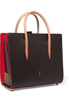 Dark-brown textured and patent-leather, red and sand leather Magnetic tab…
