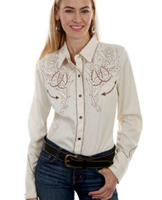 df7ea19e This Scully Womens Cream Embroidered Western Shirt is embroidered with two  horse shoes that double your