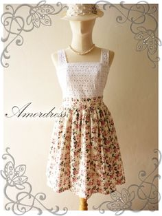 Amor Vintage Inspired Classy Lace and Floral Vintage Dress in Sweet Pink Rose -Size S-M- SALE. $45.00, via Etsy.
