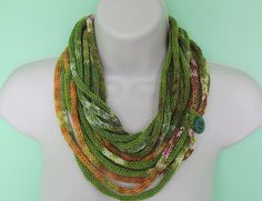 green infinity scarf, woman wool knit scarf, loop scarf, circle scarf, fall scarf, crochet necklace, adjustable scarf