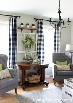 2016 Spring Home Tour - Hymns and Verses. Pretty farmhouse country livingroom with drapes and chairs