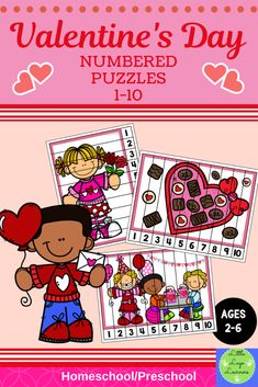 Be Mine Valentine Numbered Puzzles Learning Centers Kindergarten, Preschool Curriculum, Preschool Activities, Homeschool, Number Activities, Numbers Preschool, Learning Numbers, Activity Centers, Math Centers