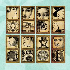 STEAMPUNK VIGNETTES Digital Collage Sheet - no. 0156, $3.99 :: Printable 1x2in images of Victorian men and women with mechanical diagrams. From Rowan Tree Design on Etsy.