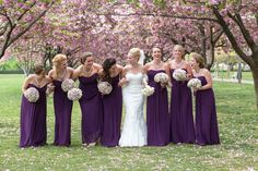 Maids in purple | Brooklyn Botanical Garden Spring Wedding from Servidone Studios Photography  Read more - www. Description from pinterest.com. I searched for this on bing.com/images