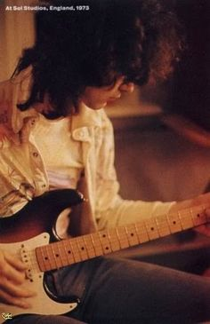 Jimmy Page from Led Zeppelin at Sol Studios in Berkshire in 1973.