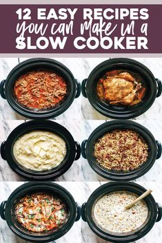 12 SUPER easy recipes you can make in a slow cooker, from veggie lasagna to an entire roasted chicken to pot roast! SO YUM! Healthy Crockpot Recipes, Easy Recipes, Dinner Recipes, Easy Meals, Crockpot Meals Easy, Budget Recipes, Frugal Meals, Freezer Meals, Healthy Recipes