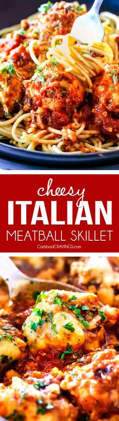 Easy, Juicy, Flavorful Italian Meatballs Bathed In Rich Marinara, Smothered In Mozzarella And Parmesan And Baked To Golden Cheesy Deliciousness This Is One Of My Favorite Recipes Ever And They Make The Best Spaghetti And Meatballs Via Carlsbadcraving Slow Cooker Recipes, Beef Recipes, Cooking Recipes, Italian Dishes, Italian Recipes, Pasta Recipes, Dinner Recipes, Pasta Meals, Dinner Ideas