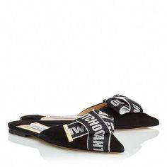 a3b31d4c06b Gretchen Flats in Back Suede with Black and Chalk Logo Tape Bow. Fashion  Designers · Jimmy Choo