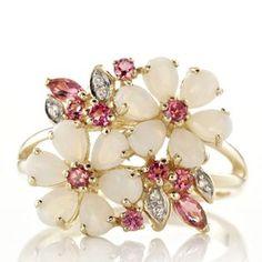 Opal Pink Tourmaline Flower Ring
