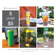 5 items under $5! via, spirit sport, 20 oz cup2go, h2go® hybrid, h2go® vibe