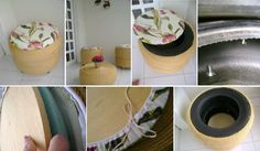 Two DIY rope ottomans made from a tire and a similar small coffee table made from the same material. Home Projects, Projects To Try, Tire Craft, Diys, Tire Furniture, Tyres Recycle, Old Tires, Furniture Makeover, Decoration